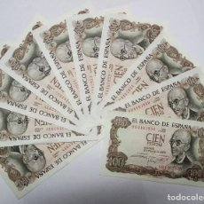 Billetes españoles: CONJUNTO DE 10 BILLETES DE 100 PESETAS DE 17 DE NOVIEMBRE DE 1970 CORRELATIVOS. LOTE 0605 . Lote 98527523