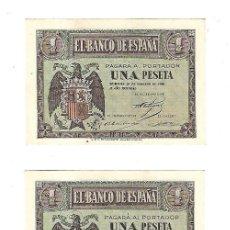 Billetes españoles: TRIO DE BILLETES. CORRELATIVOS. 1 PESETA. 1938. PLANCHA. VER IMAGEN. Lote 99124619