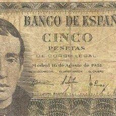 Billetes españoles: 5 PESETAS 16 DE AGOSTO DE 1951. Lote 99318887