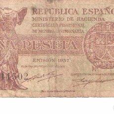 Billetes españoles: BILLETE DE ESPAÑA DE 1 PESETAS DE 1937 MUY CIRCULADO . Lote 99382707