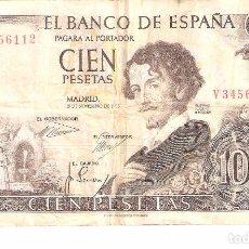 Billetes españoles: BILLETE DE ESPAÑA DE 100 PESETAS DE 1965 CIRCULADO MANCHADO. Lote 99384787