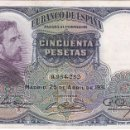 Billetes españoles: BILLETE DE 50 PESETAS DEL AÑO 1931 DE E. ROSALES SIN SERIE EN CALIDAD EBC . Lote 99664207