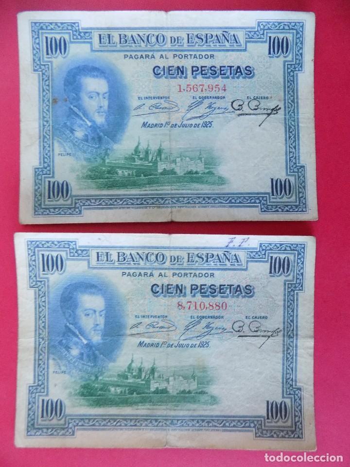 LOTE DE 2 BILLETES 100 PESETAS 1925 , SIN SERIE (REPUBLICA ESPAÑOLA) .. R-7669 (Numismática - Notafilia - Billetes Españoles)