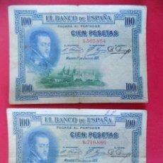 Billetes españoles: LOTE DE 2 BILLETES 100 PESETAS 1925 , SIN SERIE (REPUBLICA ESPAÑOLA) .. R-7669. Lote 99881987