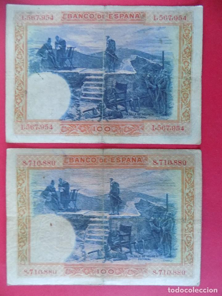 Billetes españoles: LOTE DE 2 BILLETES 100 PESETAS 1925 , SIN SERIE (REPUBLICA ESPAÑOLA) .. R-7669 - Foto 2 - 99881987
