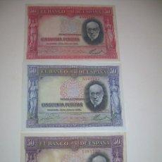 Billetes españoles: TRES BILLETES 50 PESETAS....1935...SANTIAGO RAMON Y CAJAL....CON SUS VARIANTES DE COLOR.. Lote 99973611