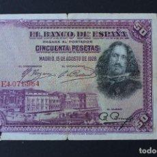 Billetes españoles: BILLETE DE 50 PESETAS -1928 - VELAZQUEZ - CIRCULADO. Lote 100382703