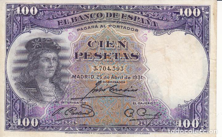 BILLETE: 100 PESETAS 25 ABRIL 1931 REPUBLICA ESPAÑOLA (Numismática - Notafilia - Billetes Españoles)