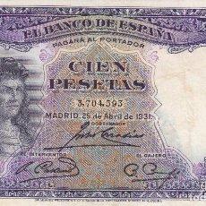 Billetes españoles: BILLETE: 100 PESETAS 25 ABRIL 1931 REPUBLICA ESPAÑOLA. Lote 100466124