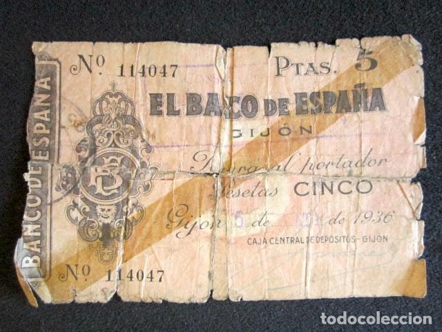 1936-1937. 5 PESETAS. GIJÓN. BILLETE DEL BANCO DE ESPAÑA. GUERRA CIVIL. (Numismática - Notafilia - Billetes Españoles)
