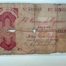 Billetes españoles: BILLETE 5 PESETAS 1936 BANCO BILBAO. Lote 102077358