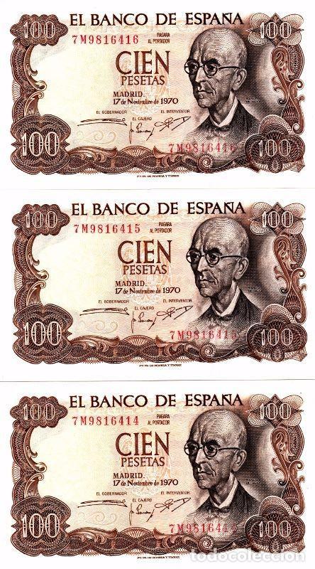 L086 LOTE 3 BILLETES ESPAÑA 100 PESETAS 1970 CORRELATIVOS SIN CIRCULAR (Numismática - Notafilia - Billetes Españoles)