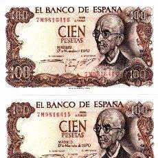 Billetes españoles: L086 LOTE 3 BILLETES ESPAÑA 100 PESETAS 1970 CORRELATIVOS SIN CIRCULAR. Lote 102277183