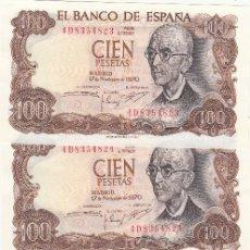 Billetes españoles: L087 LOTE DE 4 BILLETES ESPAÑA 100 PESETAS 1970 CORRELATIVOS SIN CIRCULAR. Lote 102277211