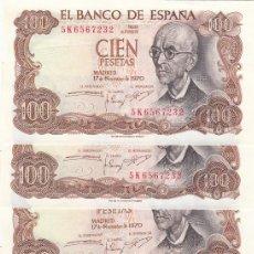 Billetes españoles: L064 LOTE DE 5 BILLETES ESPAÑA 100 PESETAS 1970 CORRELATIVOS SIN CIRCULAR. Lote 102277263