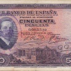 Billetes españoles: BILLETE DE 50 PESETAS DEL AÑO 1927 DE ALFONSO XIII DOBLE SELLO SECO Y SELLO TINTA DE LA REPUBLICA . Lote 103303275
