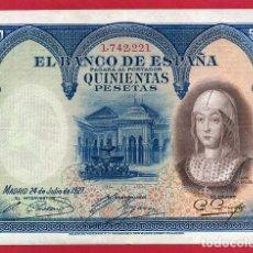 Billetes españoles: BILLETE 500 PESETAS 1927 , EBC , SIN SERIE , ORIGINAL , T221. Lote 103514407