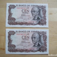 Billetes españoles: LOTE DE 2 BILLETES DE 100 PTS DE 1970 CORRELATIVOS S/C. Lote 103533835