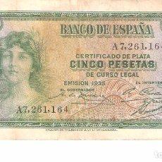 Billetes españoles: BILLETE DE ESPAÑA DE 5 PESETAS DE 1935 CIRCULADO MANCHADO. Lote 103608583