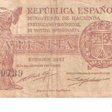 Billetes españoles: BILLETE DE ESPAÑA DE 1 PESETA DE 1937 CIRCULADO REPÚBLICA ESPAÑOLA. Lote 103609059