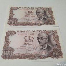 Billetes españoles: DOS BILLETE DE 100 PESETAS 1970 MADRID SIN CIRCULACIÓN. Lote 103780251