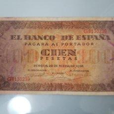 Billetes españoles: BILLETE 100 PESETAS 1938 BURGOS SERIE G MBC. Lote 103785986