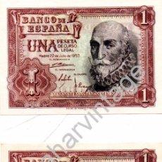 Billetes españoles: 1 PESETA DE 1953 PAREJA CORRELATIVA SERIE Y PLANCHA. Lote 104190031