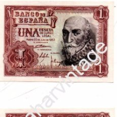 Billetes españoles: 1 PESETA DE 1953 PAREJA CORRELATIVA SERIE Y PLANCHA. Lote 104190071