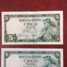 Billetes españoles: LOTE 2 BILLETES 5 PESETAS 1954 CON SERIE. Lote 104279014