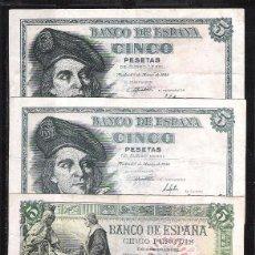 Billetes españoles: 4 BILLETES 5 PESETAS 1943-1945-1948 MBC/EBC-. Lote 104279611