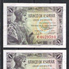 Billetes españoles: 2 BILLETES 1 PESETA 1943 SIN SERIE Y CON SERIE EBC+. Lote 104496547