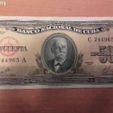 Billetes españoles: BI 105 CUBA SERIE DE 1960 BILLETE 50 PESOS (CALIXTO GARCIA) FIRNADO POR EL CHE GUEVARA. Lote 104661283
