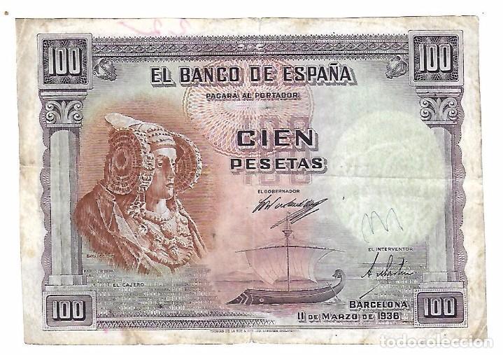 BILLETE. CIEN PESETAS. 1938. BARCELONA. DAMA DE ELCHE. (Numismática - Notafilia - Billetes Españoles)