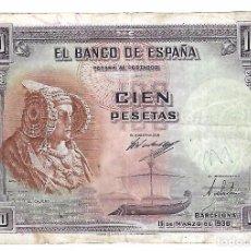 Billetes españoles: BILLETE. CIEN PESETAS. 1938. BARCELONA. DAMA DE ELCHE.. Lote 104847167