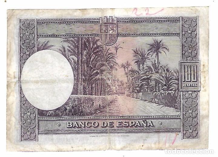 Billetes españoles: BILLETE. CIEN PESETAS. 1938. BARCELONA. DAMA DE ELCHE. - Foto 2 - 104847167