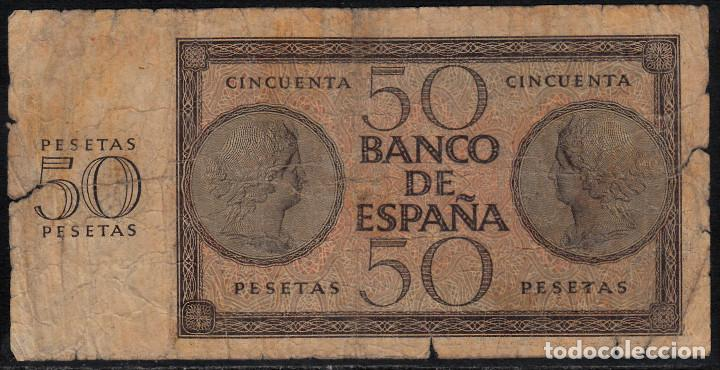 Billetes españoles: BILLETE BANCO DE ESPAÑA 50 PESETAS BURGOS 1936 - Foto 2 - 104911255