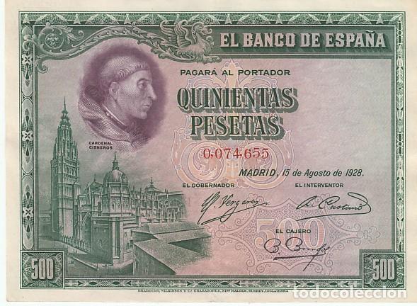 500 PESETAS- 15 DE AGOSTO DE 1928 (Numismática - Notafilia - Billetes Españoles)