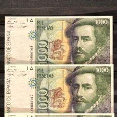Billetes españoles: TRIO CORRELATIVO BILLETE 1000 PESETAS 1992 HERNÁN CORTÉS Y FRANCISCO PIZARRO. Lote 105012159