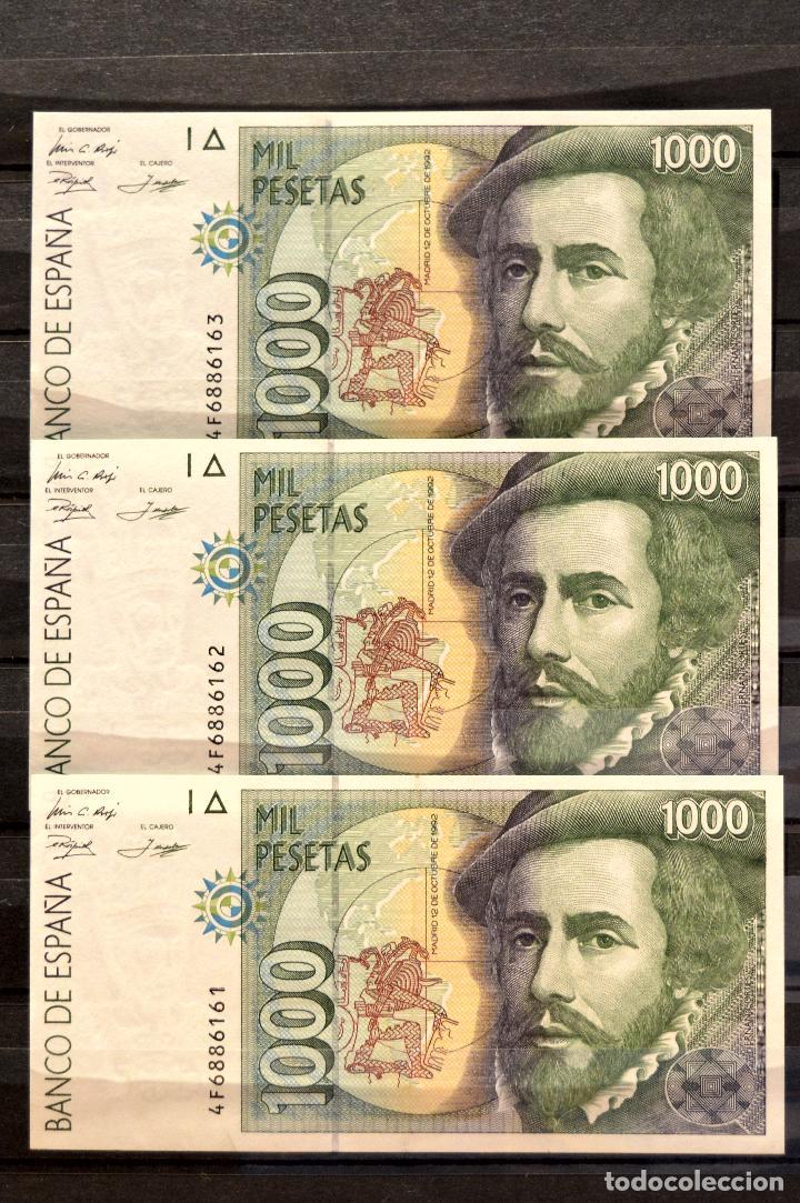 Billetes españoles: TRIO CORRELATIVO BILLETE 1000 PESETAS 1992 HERNÁN CORTÉS Y FRANCISCO PIZARRO - Foto 2 - 105012159
