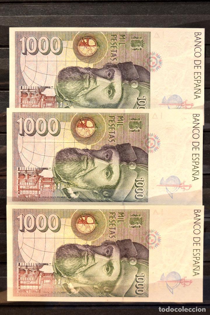Billetes españoles: TRIO CORRELATIVO BILLETE 1000 PESETAS 1992 HERNÁN CORTÉS Y FRANCISCO PIZARRO - Foto 3 - 105012159