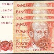 Billetes españoles: 4 BILLETES BANCO DE ESPAÑA 1980 200 PESETAS NUMS. CORRELATIVOS -PLANCHA- . Lote 105046767