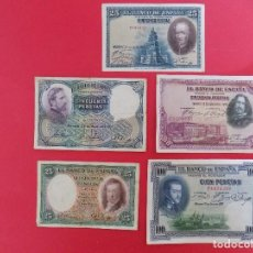 Billetes españoles: LOTE DE 5 BILLETES (REPUBLICA ESPAÑOLA) 2 DE 25 Y 50 PTS Y 1 DE 100 PTS - VER 8 FOTOS.. R-7778. Lote 105073535