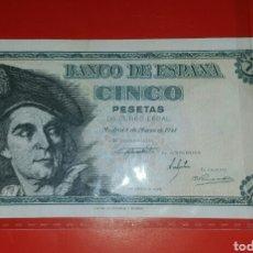 Billetes españoles: BILLETE ESPAÑA 5 PESETAS 1948 SC-. Lote 105238315