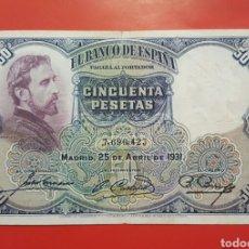 Billetes españoles: BILLETE ESPAÑA 50 PESETAS 1931 BC. Lote 105318655