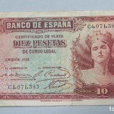 Billetes españoles: BILLETE 10 PESETAS. 1935. SERIE A. Lote 105517179
