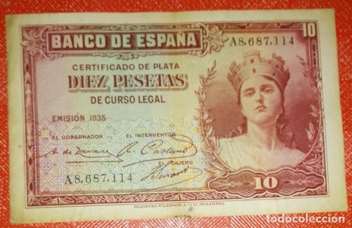 BILLETE DE ESPAÑA - 10 PESETAS AÑO 1935 - CERTIFICADO DE PLATA - SERIE A (Numismática - Notafilia - Billetes Españoles)