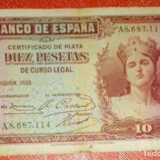 Billetes españoles: BILLETE DE ESPAÑA - 10 PESETAS AÑO 1935 - CERTIFICADO DE PLATA - SERIE A. Lote 105587771
