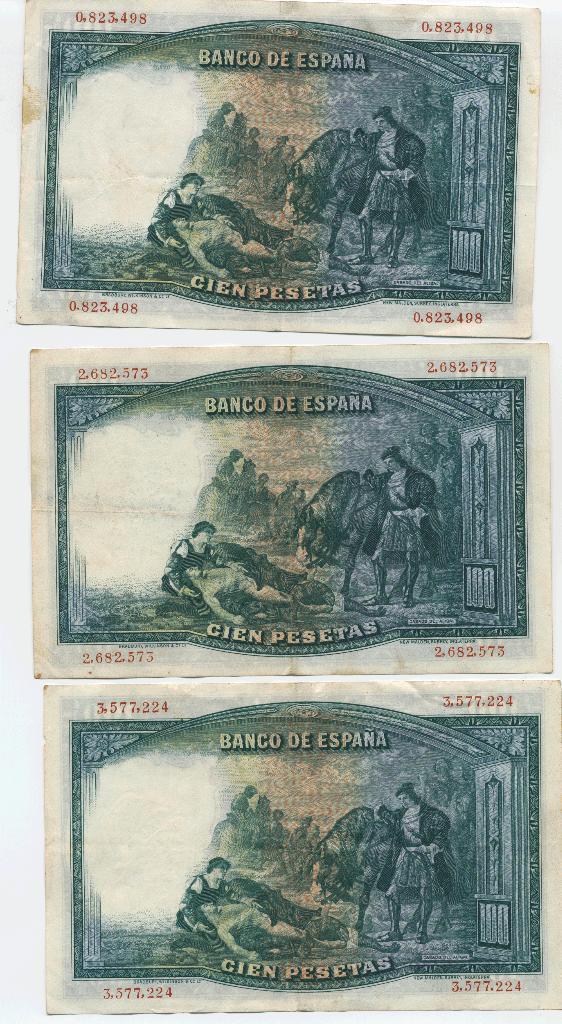 Billetes españoles: Lote. Gonzalo Fernández de Córdoba 1931 Series. 0.823.498 - 2.682.573 - 3.577.224. Los de la imagen. - Foto 2 - 105665607