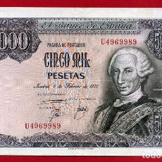 Billetes españoles: BILLETE 5000 PESETAS 1976 , MBC++ , SERIE U , ORIGINAL ,T989. Lote 106943467