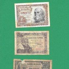 Billetes españoles: LOTE FRANCO: BILLETE 1 PESETAS 1953, 1 PESETA 1945, 2 PESETAS 1938 Y 5 PESETAS 1954. Lote 176836832